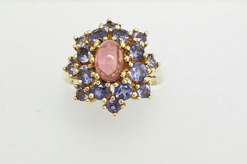 14k Yellow Gold, Pink Tourmaline & Tanzanite Ring