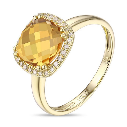 14k Yellow Gold, Citrine and Diamond Ring