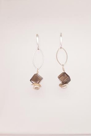 Sterling Silver & Smokey Topaz Custom Designed Earrings