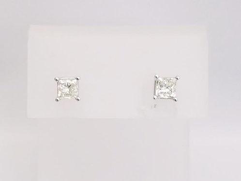 14k White Gold & Princess Diamond Earrings 1.00ct