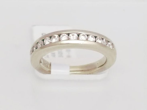 14k White Gold & Diamond Band Ring