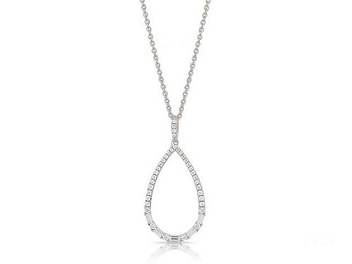 14k White Gold Diamond Pendant / Necklace with Chain