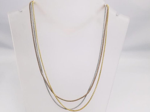 14k White, Yellow & Rose Gold Triple Strand Necklace