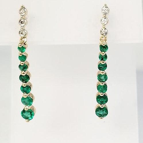 14k Yellow Gold Emerald & Diamond Dangle Earrings