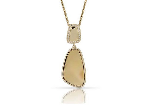 14k Yellow Gold, Mother-of-Pearl & Diamond Pendant with Gold Chain