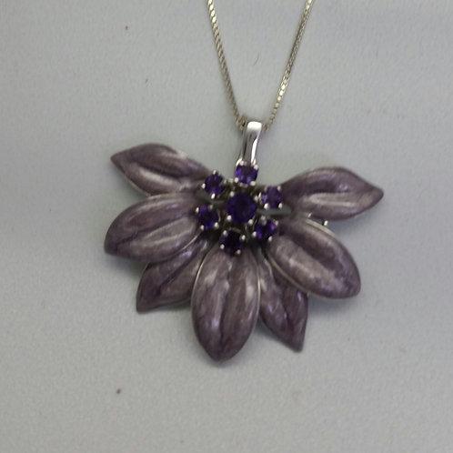 Sterling Silver Amethyst & Enamaled Flower Pendant