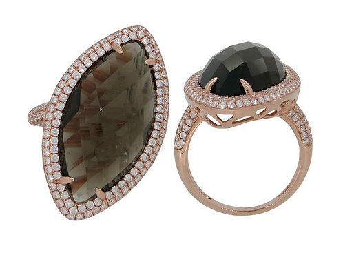 14k Rose Gold, Smokey Topaz and Diamond Ring