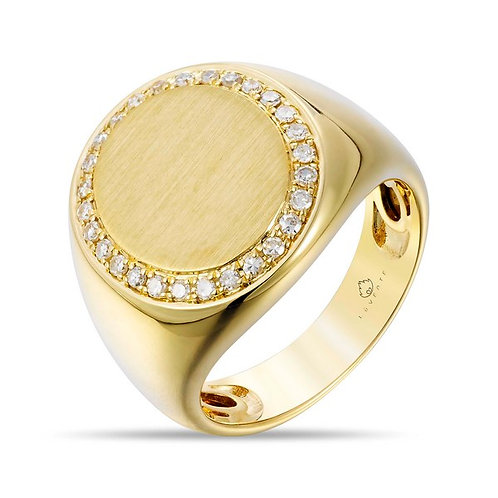 14k Yellow Gold & Diamond Signet Ring