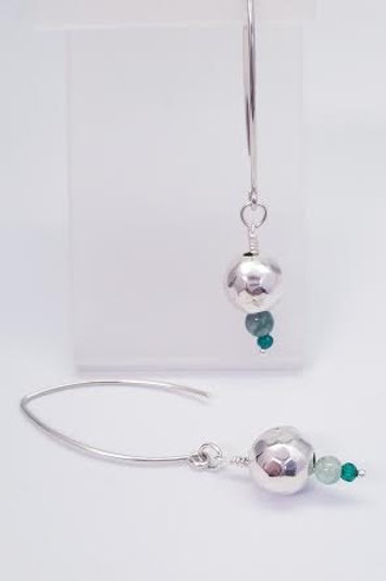 Sterling Silver Jade & Green Onyx Custom Designed Earrings