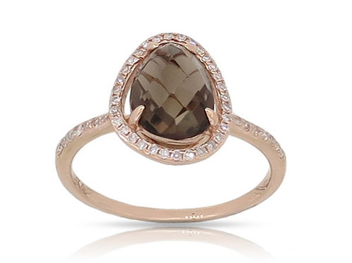 14k Rose Gold, Smokey Topaz & Diamond Ring