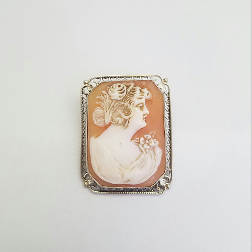 14k White Gold  Cameo Brooch/Pin & Pendanrt