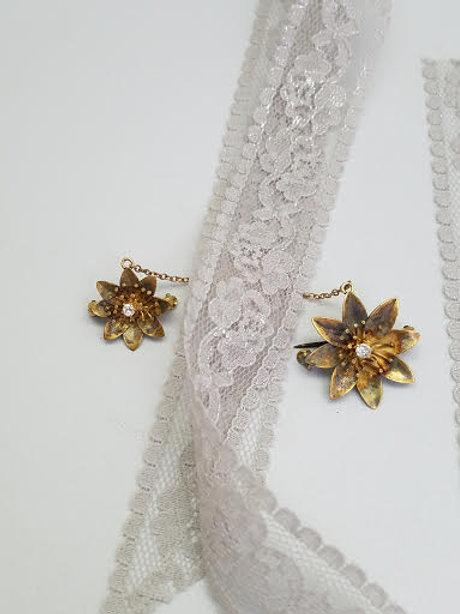 9k Yellow Gold Duel Flower Brooch/Pins