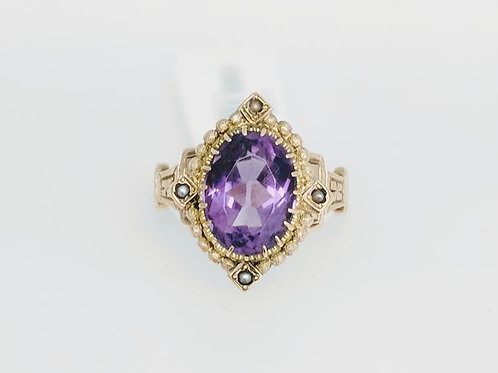 14k Yellow Gold, Man Made Amethyst & Seed Pearl Ring