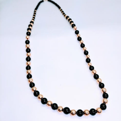 14k Yellow Gold & Black Onyx Bead Necklace