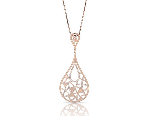 14k Yellow Gold Diamond Pendant with Chain