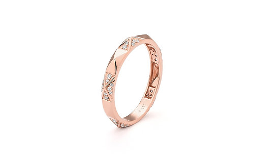 14k Rose Gold & Diamond Stack Ring