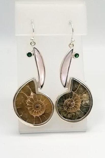 Sterling Silver Ammolite, Mother of Pearl & Tsavorite Custom Designed Earrings