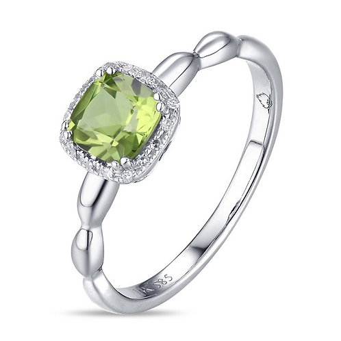 14k White Gold, Peridot & Diamond Ring