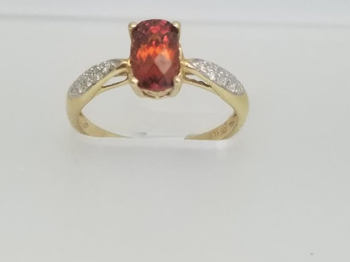 14k Yellow Gold, Spessartite Garnet & Diamond Ring