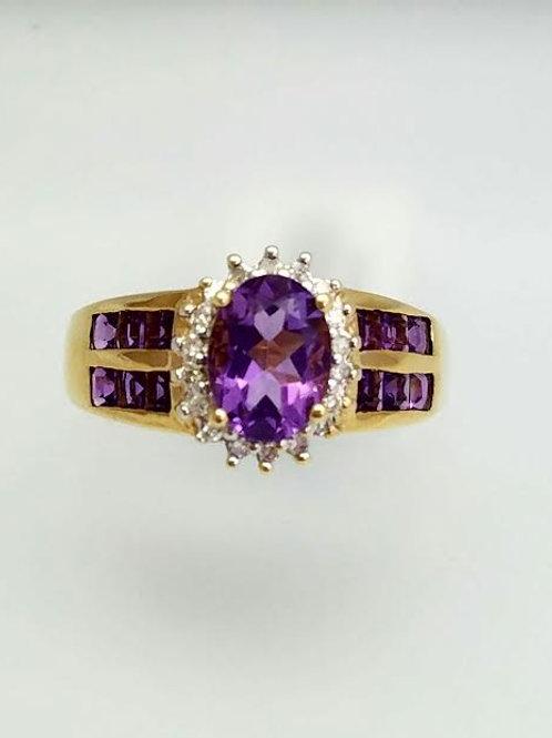 14k Yellow Gold, Amethyst & Diamond Ring