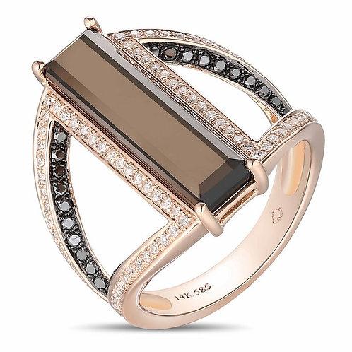 14k Rose Gold Smoky Topaz & Diamond Ring