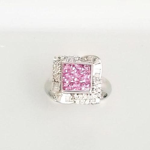 18k White Gold, Sapphire & Diamond Ring