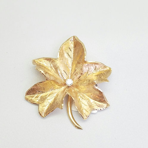 14k Yellow Gold & Diamond Brooch/Pin