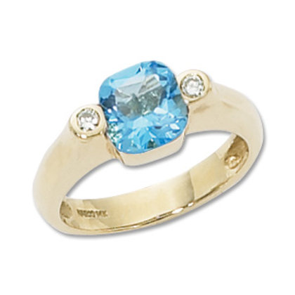Sterling Silver Blue Topaz & Diamond Ring