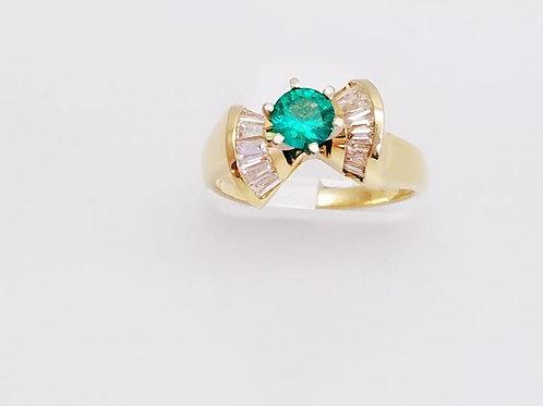 14k Yellow Gold, Emerald & Diamond Ring