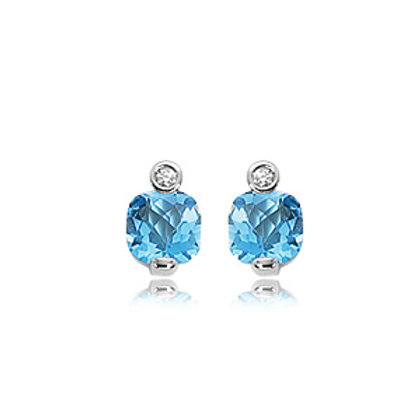 Sterling Silver Blue Topaz & Diamond Earrings