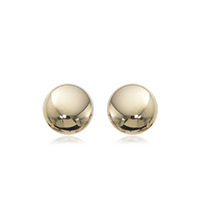 14k Yellow Gold Flat Button Earrings