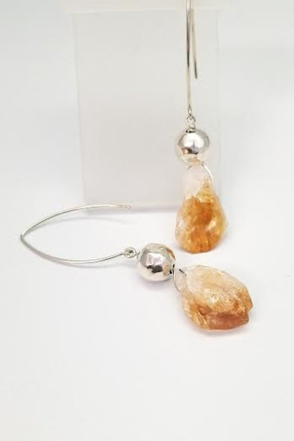 Sterling Silver & Citrine Custom Desinged Earrings