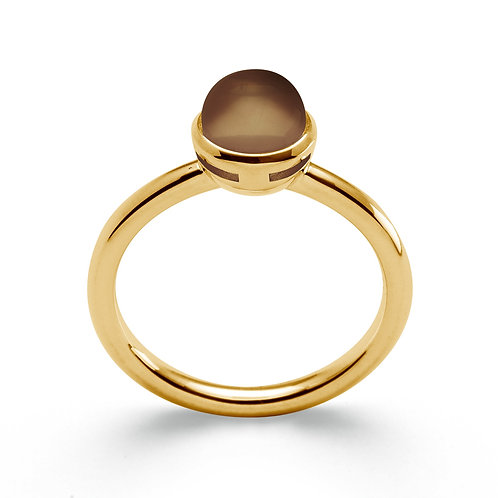 Sterling Silver Yellow Gold Plated & Smokey Topaz Ring (part of a set)