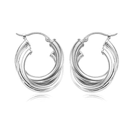 Sterling Silver Double Round Hoop Earrings