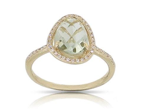 14k Yellow Gold, Green Amethyst & Diamond Ring