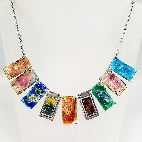 Sterling Silver Enameled Necklace