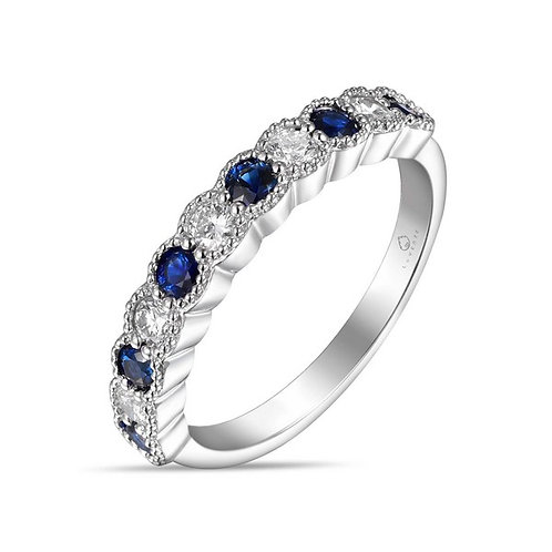 14k  White Gold, Sapphire & Diamond Band Ring