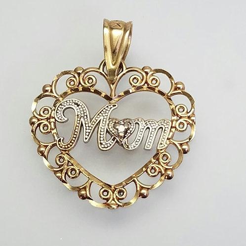 "14k Yellow & White Gold ""MOM"" pendant"