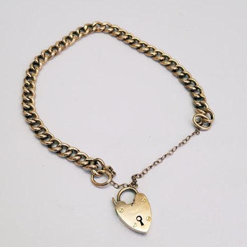 9k Rose Gold Bracelet with Pad Lock Charm