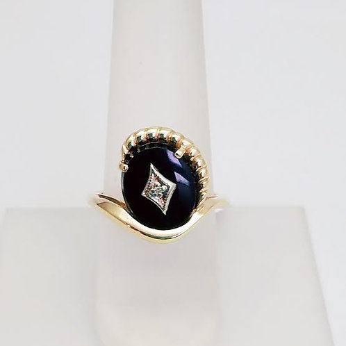 10k Yellow & White Gold, Onyx & Diamond Ring