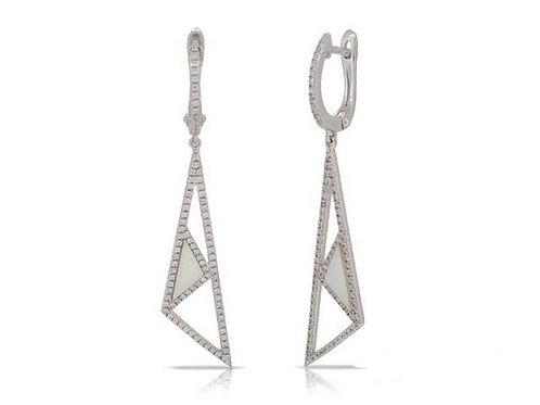 14k White Gold, Mother-of-Pearl & Diamond Earrings
