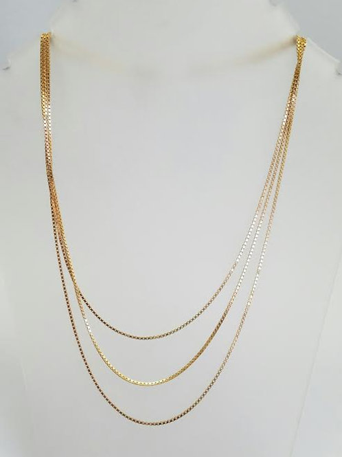 14k Yellow Gold Multi-Strand Box Chain Necklace