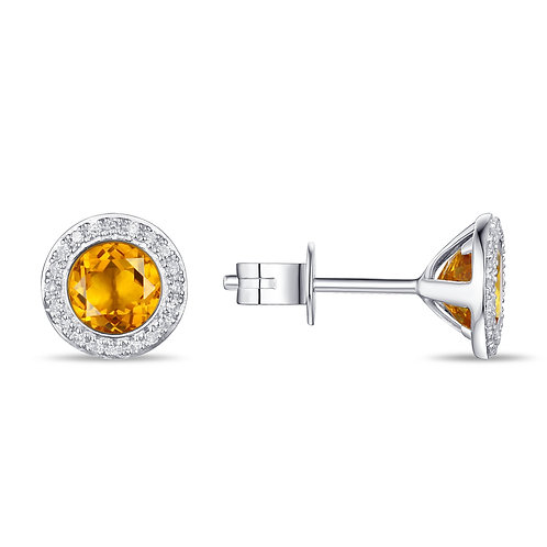 14k White Gold, Citrine & Diamond Earrings