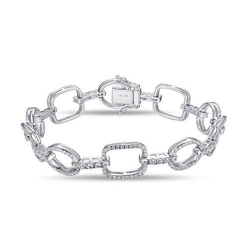 14k White Gold & Diamond Link Bracelet
