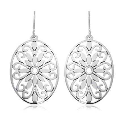 Sterling Silver Floral Drop Earrings