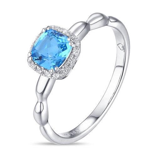 14k White Gold, Blue Topaz & Diamond Ring