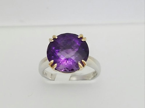 14k White & Yellow Gold & Amethyst Ring