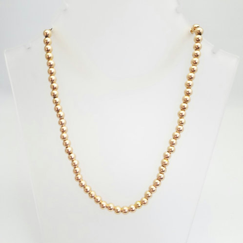 14k Rose Gold Bead Necklace
