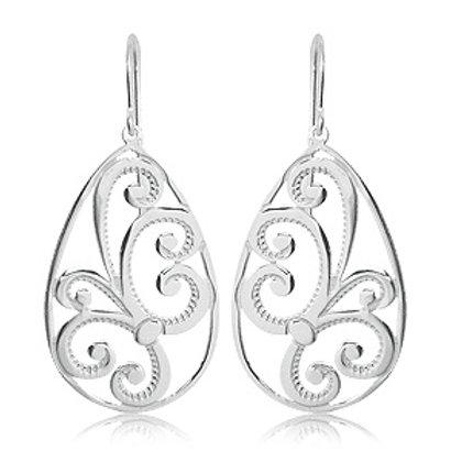 Sterling Silver Swirl Teardrop Earrings