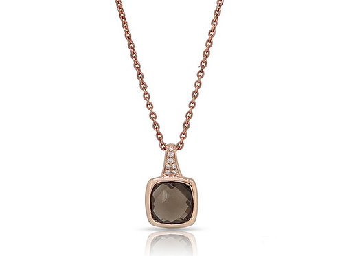 14k Rose Gold, Topaz & Diamond Pendant/ Necklace with Chain